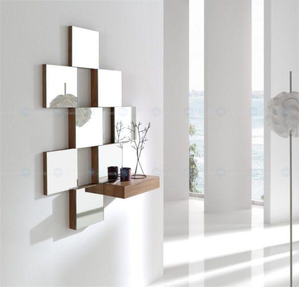 Consola, mod. Julie, móvel de entrada, madeira, nogueira, espelho, moldura, gaveta, quadrados, moderno