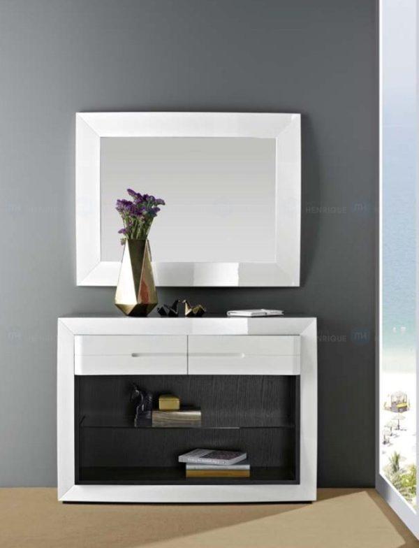 Consola, mod. Lux, móvel de entrada, gavetas, madeira, wenguê, lacado, branco, brilho, espelho, moldura, rectangular, moderna