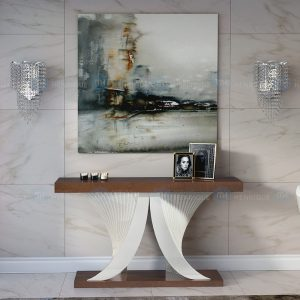 Consola mod. Mil, móvel de entrada, madeira, nogueira, lacado, branco, moderna